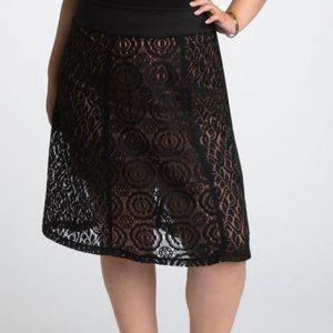 Kiyonna Muse Lace Midi Skirt Onyx 2 NWT